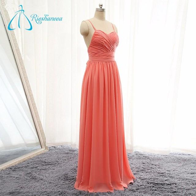 Chiffon Pleat Long Backless Sweetheart Bridesmaid Dress Coral Color