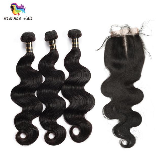 Human Hair Body Wave 3 Bundles with 4X4 Lace Closure Natural Black 1B