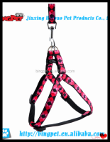 wholesale dog products black and pink tartan nylon pet harness and leash set for dog