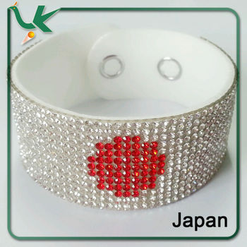 Rhinestone Japan Flag European style Leather Wrap Bracelet for World Cup