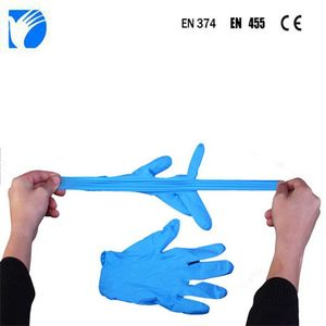Direct Factory hot selling made in China medical supplies blue powder high quality nitrile exam glove