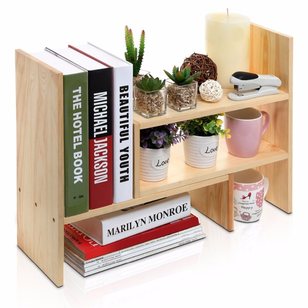 Adjustable Bamboo Desktop Storage Organizer Display Shelf <strong>Rack</strong> Counter Top Bookcase