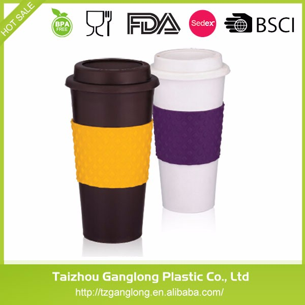 Eco-friendly material Bpa-Free white black Plastic mug