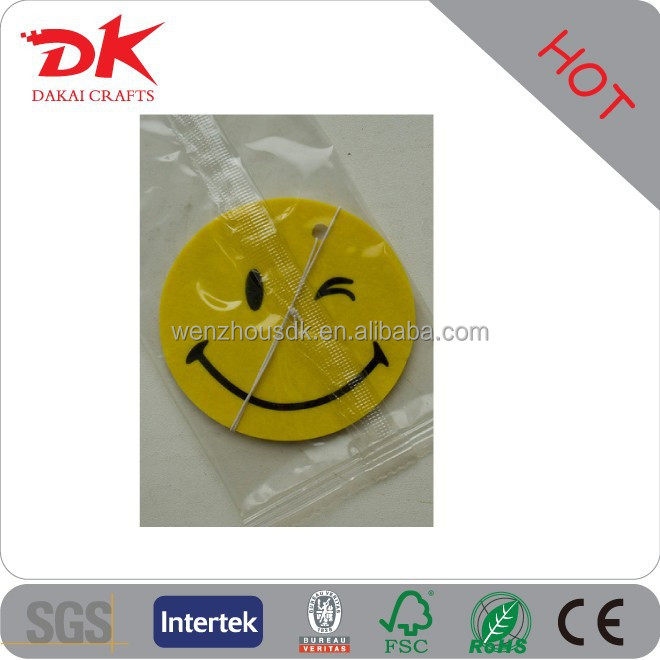 Round smile air freshener for car/hanging smiley face car air freshener