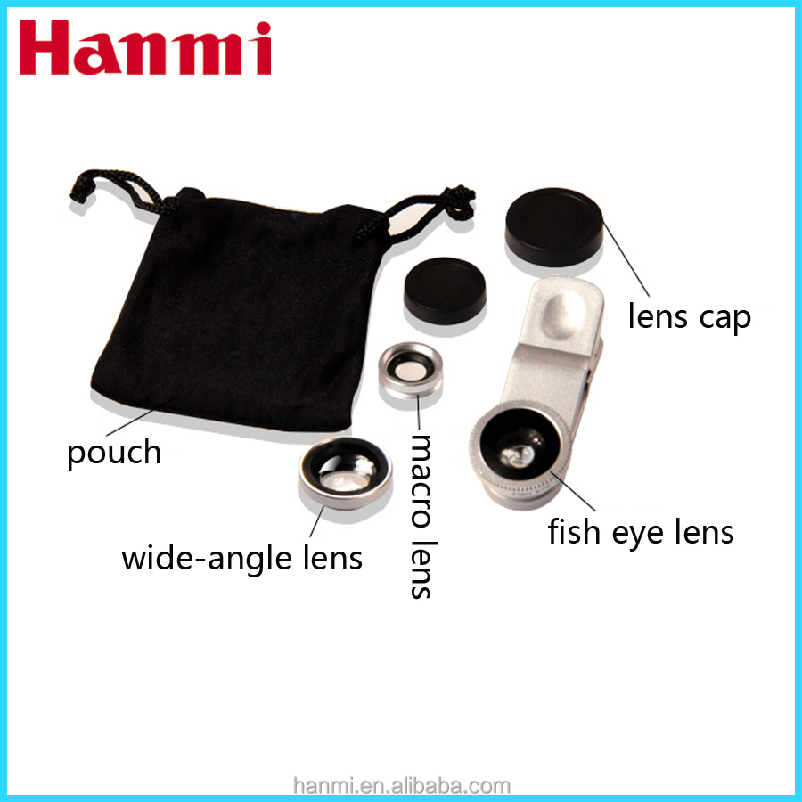 3 in 1 mobile camera lens for galaxy note 2, fish eye lens