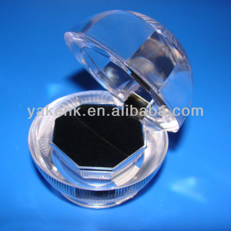 Round Ring Box clear transparent plastic black pad jewelry gifts boxes