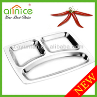 durable stainless steel fast food dish/buffet plate/serving tray