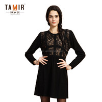 Elegant Ladies Cashmere Knitted Black Lace Dress, Women Graceful Cashmere Party Dress