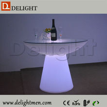 Outdoor Illuminated Rechargeable Plastic Round Led Tea Coffee Table