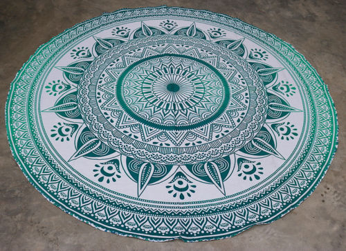 custom printed mandala round beach towel