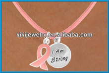 i am strong metal pendants for engraving with enamle ribbon neckalce(A107147)