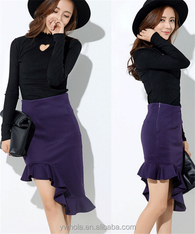 Wholesale Latest Ladies Irregular High Waisted Formal Bandage Pencil Skirt