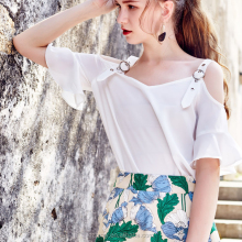 Off shoulder flare sleeve open hot sexy girl photo chiffon blouse women top