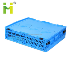 Folding plastic egg storage container crate for transportation