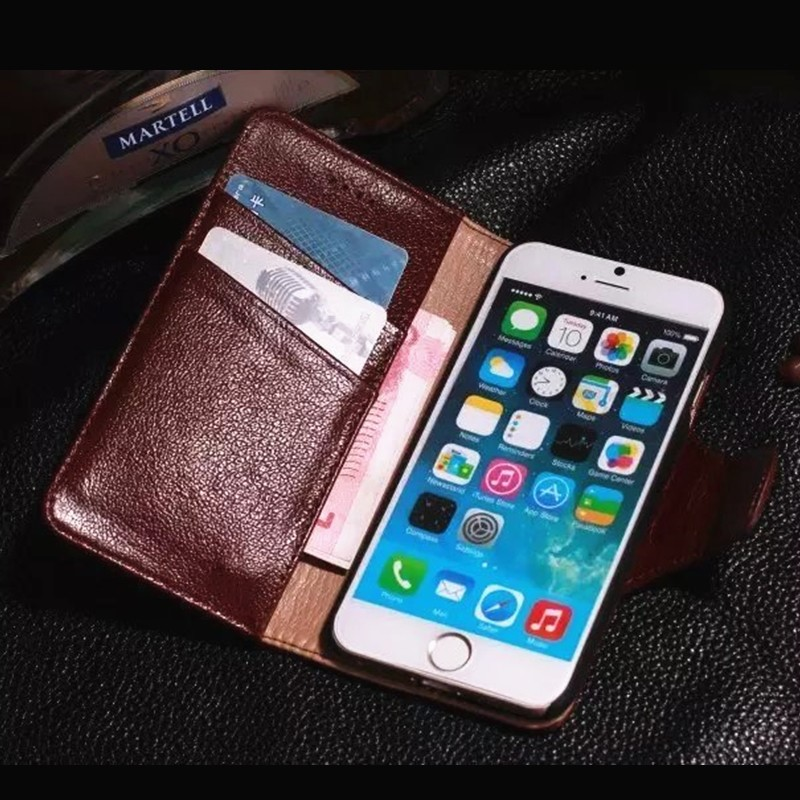 luxury 100% real genuine leather cell phone case for apple iphone wallet stnad flip covers for iphone 6 case