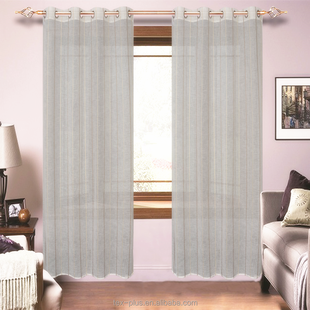 100% Polyester Linen Look Eyelet Sheer Curtain Ready Made