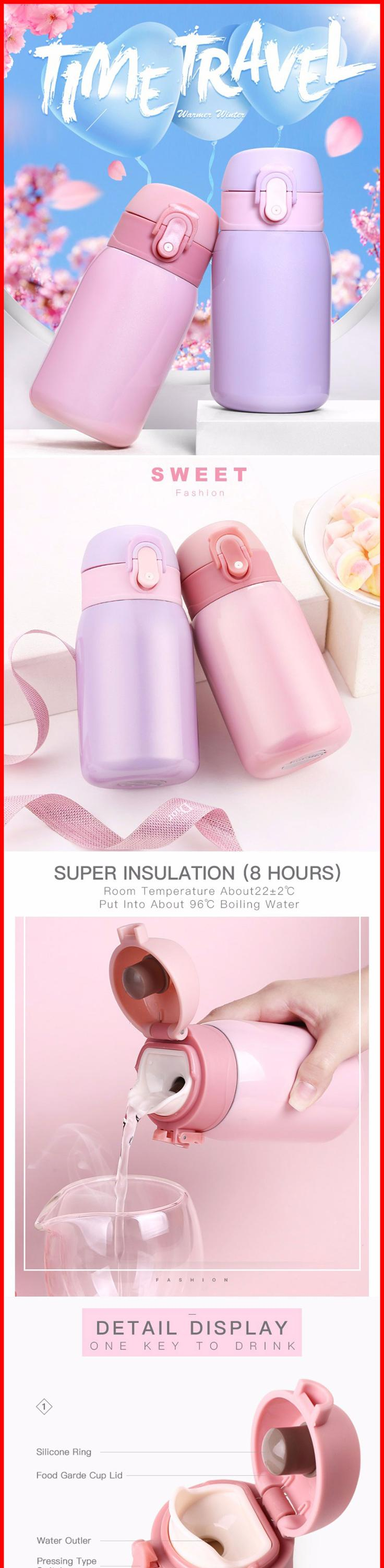 Hot Thermo Mug Vacuum Cup Stainless Steel thermos Bottle Macarons Color Thermal Bottle for water Insulated Tumbler For Car Coffe