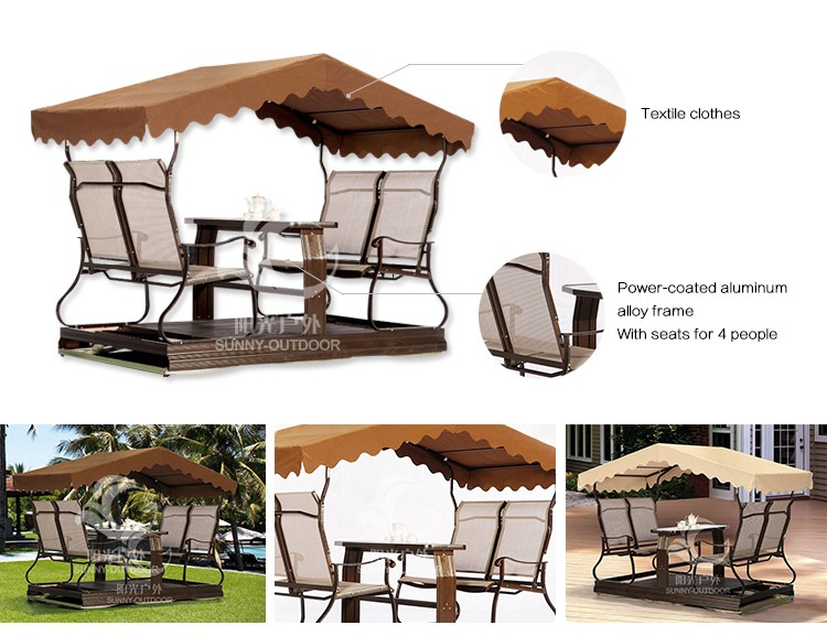 Aluminium Frame wholesale Outdoor Swing garden chair Sets For Adults