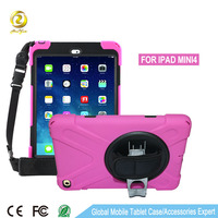 360 degree rotation with hand strap and black belt tablet cases for ipad mini 4
