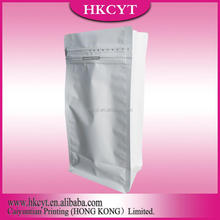 Chinese Gold Supplier for White Color Printing Aluminum Foil Food Grade Flat Bottom Packing Bag for Coffee Beans