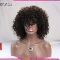 With Bang Glue Less Human Hair Afro Curl Lace Wigs Hongkong