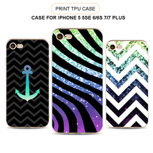 Hot UV Printing Stripe Pattern Clear TPU Cover Case For iPhone 5 5s SE 6 6s Plus 7 Plus, Printed Cell Phone Cover Custom Made