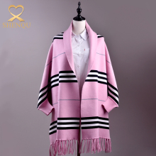 Women fashion horizontal stripe design blanket pashmina ponchos ladies winter ponchos wraps shawl with sleeves