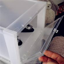 Plastic drop front storage box for shoes