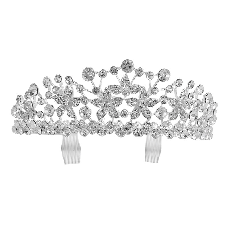 Wholesale wedding party accessories flower silver rhinestones tiara favors personalized gifts