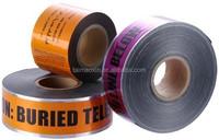 Caution Fiber Optic Cable Below Tape Underground Warning Tape Aluminium Foil Detectable Barricade Tape