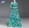 OEM women dress summer autumn fashion printed long sleeve big size chiffon floor length dress