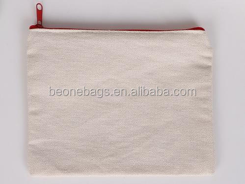 China factory wholesale flat blank canvas zipper pouch for cosmetics
