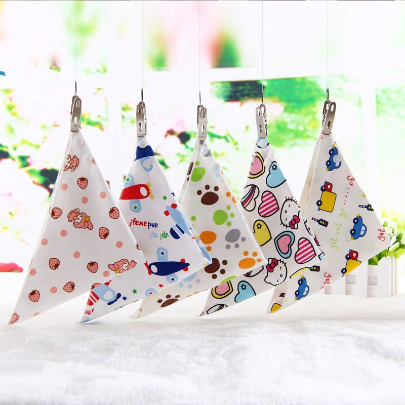 Multifunctional triangle unisex soft multi colors cotton baby bibs scarf