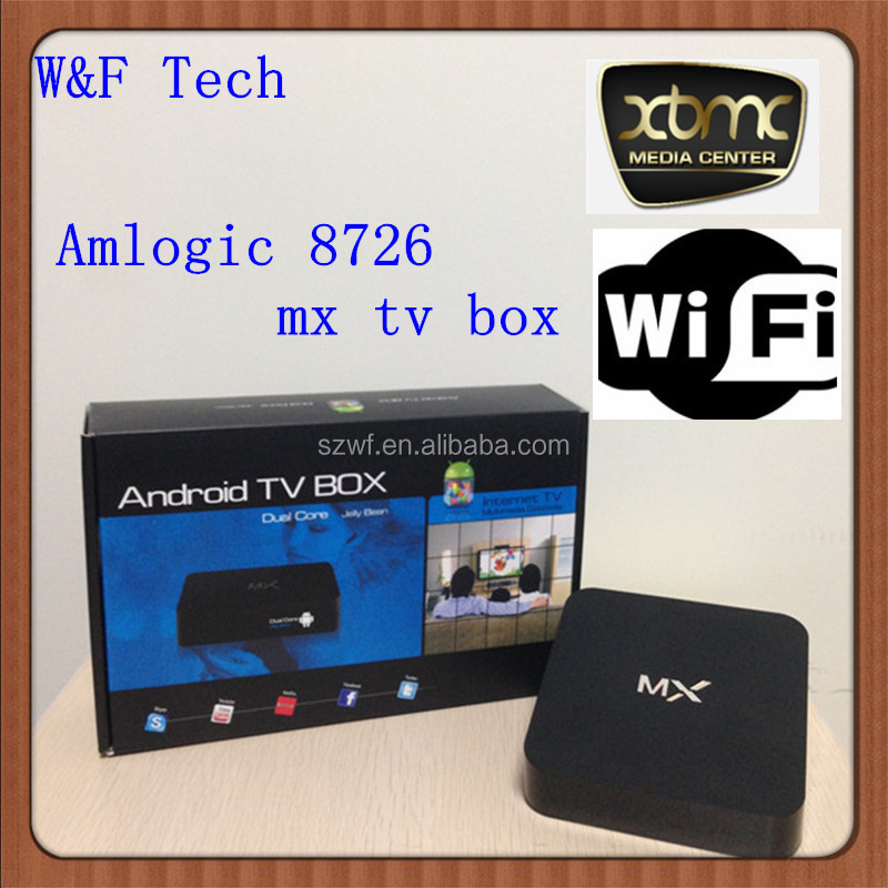 Amlogic 8726 mx TV BOX preinstalled youtube facebook skype media player android 4.2 dual core smart tv box xbmc