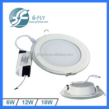 Decorative round glass trimmed 12 Watt LED recessed downlight
