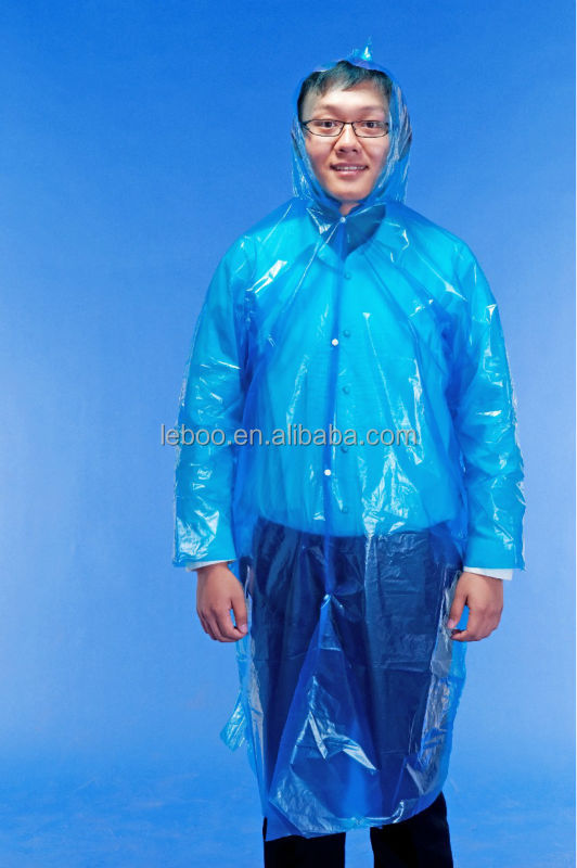 Disposable Portable Plastic emergency Rain Coat with Hoods and Sleeves