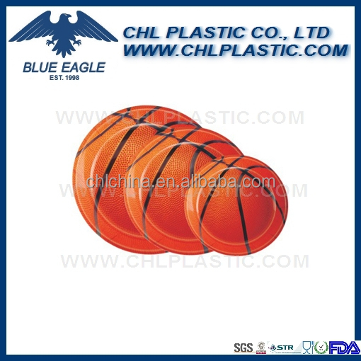 Reusable basketball shape plastic serving tray