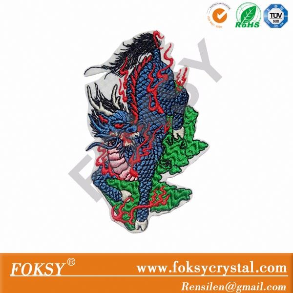 Custom embroidered dragon pattern iron on patch