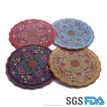 Customize Printing Silicone Round Shape Coffee Cup Coasters Mats