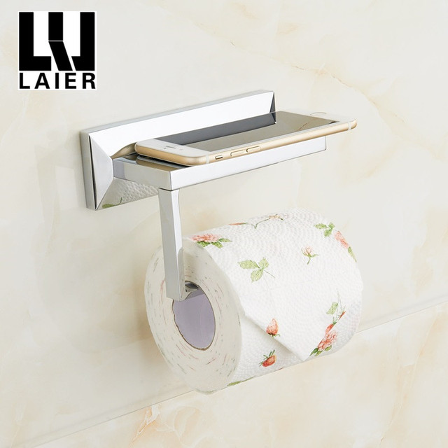 Chrome Plated Bathroom Tissue Holder with Mobile Phone Storage Shelf Washroom Wall Mount Zinc Alloy Toilet Paper Holder