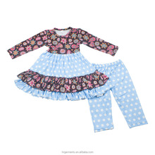 wholesale kids boutique fall clothes sweet girl cotton clothing sets new design bright baby ruffle outfits factory in china