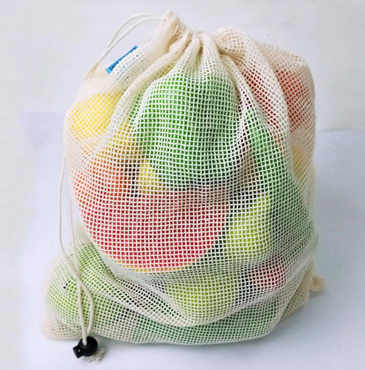 washable organic cotton fruit bag mesh