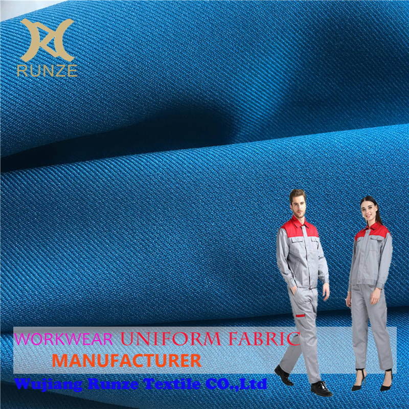New Fashion Blue Wearable Polyester Woven Twill Fabric Drill Do Pants And Trousers Cloth RZ1619A