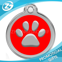 Personalized Engraved Designers Round Paw Pet ID Tag Dog Tag Cat Tag