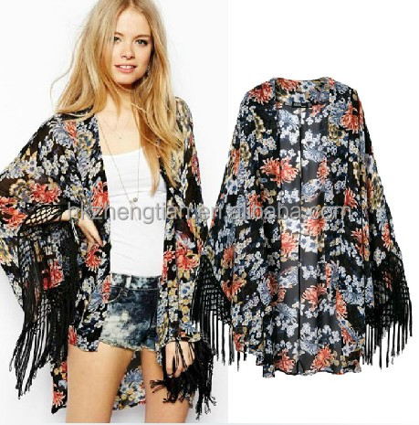 New Vintage Retro Boho new floral print kimono 2016 Top Blazer Jacket Blouse wholesale