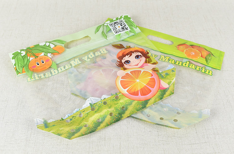The handheld stand up food safe fruit protection bag with air hole