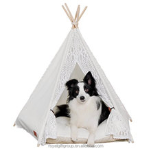 28inch Portable waterproof canvas pet tents & Houses for Dog Cat Lace Style without cushion