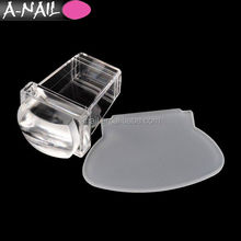 2017 Transparent Soft Silicone Head Jelly Shape Nail Stamping Clear Nail Art Stamper Scraper Sets