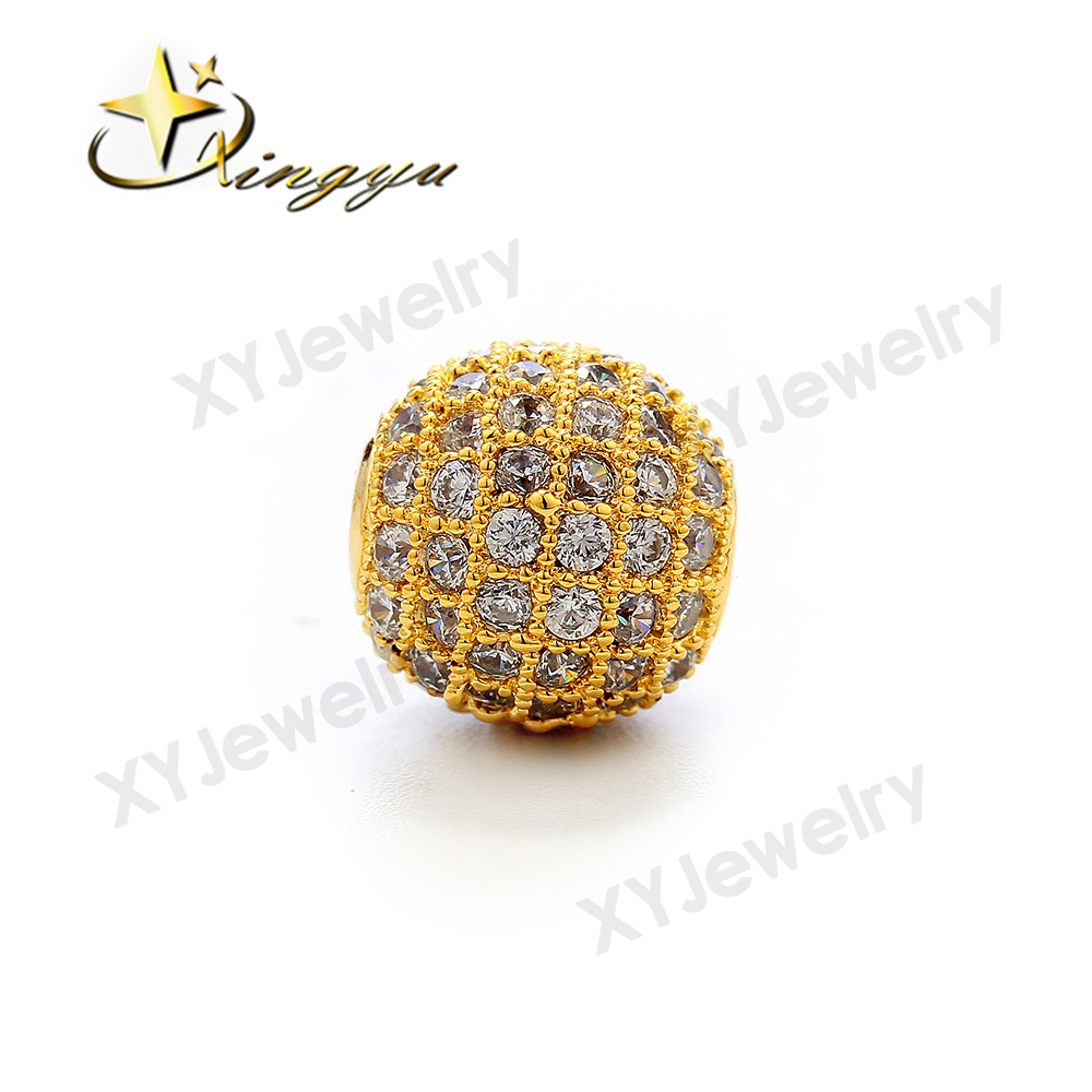 Brass Drop Earring Pendant AAA zirconia Ball Shape Stone Necklace Pendant