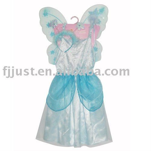 Blue kids festive party costume with wing